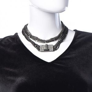Chanel Ruthenium Crystal Mademoiselle Necklace
